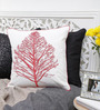 Mapa Home Care White & Red Cotton 16 x 16 Inch Embroidered Tree Cushion Cover