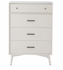 Marc Mid Century Four Drawers Tall Chest Of Drawers in White Colour by Asian Arts
