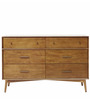 Marc Mid Century Six Drawers Chest Of Drawers in Brown Colour by Asian Arts