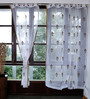 Marigold White Cotton Three Petalled Flower Embroidery Sheer Curtain