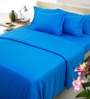 Mark Home Blue Solids Cotton Queen Size Bed Sheets - Set of 3
