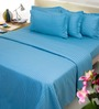 Mark Home Blue Cotton Abstract Bed Sheet