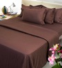 Mark Home Taupe Brown Cotton Abstract Double Bed Sheet (with Pillow Cover) - Set of 3