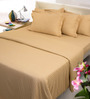 Mark Home Beiges Solids Cotton Queen Size Bed Sheets - Set of 3