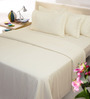Mark Home Off White Solids Cotton Queen Size Bed Sheets - Set of 3