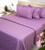 Mark Home Purples Solids Cotton Queen Size Bedding - Set of 4