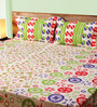 Mark Home Motifs Green Cotton Abstract Bed Sheet (with Pillow Covers) - Set of 3