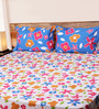 Mark Home Floral Blue & Pink Cotton Abstract Bed Sheet (with Pillow Covers) - Set of 3