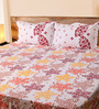 Mark Home Flowers Red & Yellow Cotton Abstract Bed Sheet (with Pillow Covers) - Set of 3