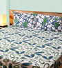 Mark Home Motifs Blue & Green Cotton Abstract Bed Sheet (with Pillow Covers) - Set of 3