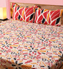 Mark Home Leaves Black & Red Cotton Abstract Bed Sheet (with Pillow Covers) - Set of 3