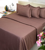 Mark Home Brown Cotton Bed Sheet (with Pillow Covers)