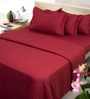Mark Home Maroon Solids Cotton Queen Size Bedding - Set of 6