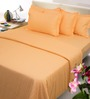 Mark Home Light Orange Cotton Bed Sheet Set