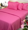 Mark Home Shocking Pink Solids Cotton Queen Size Fitted Bed Sheet Set - Set of 3