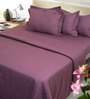 Mark Home Purple Cotton Abstract Bed Sheet Set