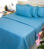 Mark Home Blue Cotton Bed Sheet (with Pillow Covers)