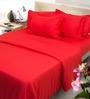 Mark Home Red Cotton 4-piece Duvet Set