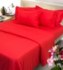 Mark Home Rich Red Cotton Bed Sheet Set