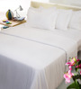 Mark Home White Solids Cotton Single Size Bed Sheets - Set of 4