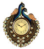Marwar Stores Multicolour MDF 18 x 2 x 18 Inch Peacock Shaped Wall Clock