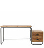 Mason Reclaimed Wood Study Desk in Brown & Black Colour by Asian Arts
