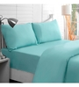 Maspar Teal Cotton Solid 108 x 90 Inch Double Bed Sheet (with Pillow Covers)