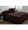 Maspar Brown 100% Cotton Queen Size Bed Cover