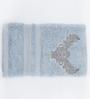 Maspar Blue Cotton Damask Embroidery Bath Towel