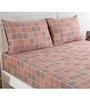 Maspar Red 100% Cotton King Size Bed Sheet - Set of 3