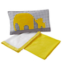 Maspar Yellow Cotton Abstract 3-piece Baby Bed Set
