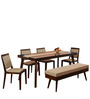 Matrix Six Seater Dining Set in Walnut Colour by @home