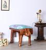 Dvidanta Blue Fabric Stool by Mudramark