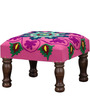 Upasri Stool in Pink Embroidered Fabric by Mudramark