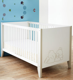 McBaloo Baby Crib Bed With Adjustable Height In White Finish By Mollycoddle