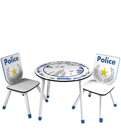 McPlodd Activity Table-Chair Set in White & Blue Finish by Mollycoddle
