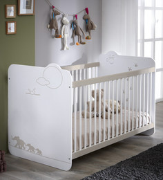 McWillow Baby Crib Bed with Adjustable Height in Velvet White Finish by Mollycoddle