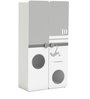 McZico Two Door Wardrobe in Pearl White & Grey Finish by Mollycoddle