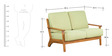 Callao Green Two Seater Sofa in Light Walnut Finish by CasaCraft