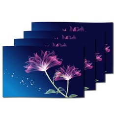 Me Sleep Blue Silk 11 x 17 Inch Floral Table Mat - Set of 4
