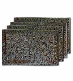 Me Sleep Grey Silk 11 x 17 Inch Table Mat - Set of 4