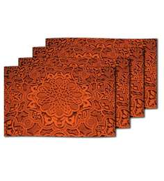 Me Sleep Red Silk 11 x 17 Inch Table Mat - Set of 4