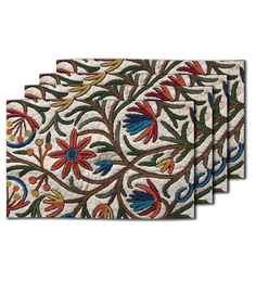 Me Sleep White Silk 11 x 17 Inch Table Mat - Set of 4