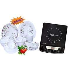 Melamine Tableware 32 Pcs Dinner Set + FREE Rotomac Induction Cooker