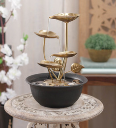 Importwala Brown & Gold Metal 4 Leaf Without Led Fountain