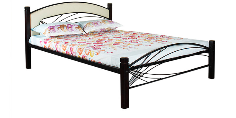 Metal Bed (Queen Size) in Black color by FurnitureKraft