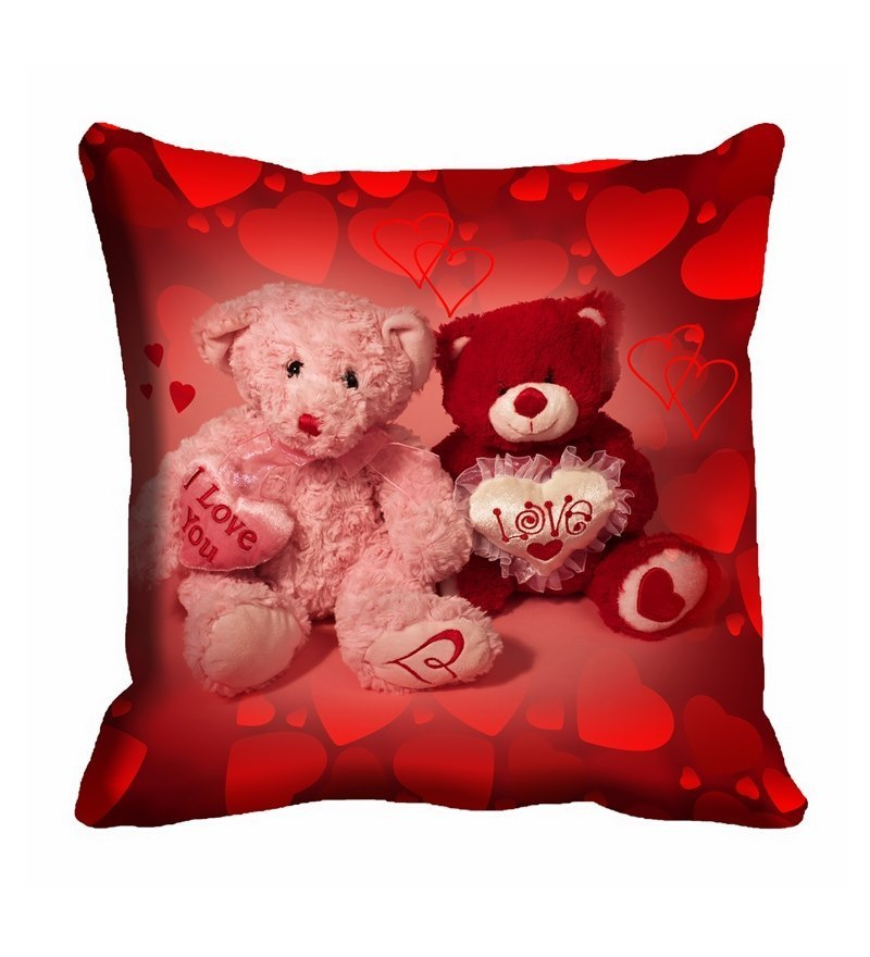 Me Sleep Red Cotton 16 x 16 Inch Teddy Bear Lovers Digitally Printed cushion Cover  available at Pepperfry for Rs.87