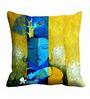 Me Sleep Blue & Yellow Satin 16 x 16 Inch Buddha Worship Cushion Cover