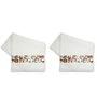 Me Sleep White & Brown Cotton 14 X 24 Hand Towels - Set of 2