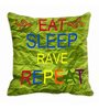 Me Sleep Green Satin 16 x 16 Inch Cushion Cover